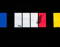 floodlight(s) (Soenke HH) Tags: blue shadow red urban blackandwhite abstract color rot window yellow lampe fenster hamburg streetphotography olympus gelb ubahn blau schwarzweiss farbe schatten zuiko floodlight contrejour gegenlicht e5 flutlicht fcstpauli feldstrasse swd1260 blinkagain