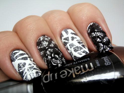 Black & White Splatter Nails