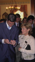 Tim Tebow signing an autograph for Michelle Re...