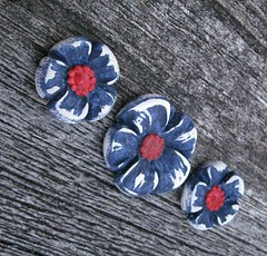 Patriotic pendant and earring set or....? (Sandra DeYoung Niese (DandyBeads)) Tags: flower workinprogress jewelry polymerclay hibiscus accessories petunia etsy sets posie sculpted dandybeads