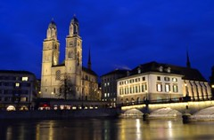 Grossmünster Monastery, Limmat river & Münsterbrücke bridge at dusk, Zürich (Sir Francis Canker Photography ©) Tags: bridge blue lake tower tourism church abbey architecture night river stars landscape lights switzerland twilight nikon cityscape suisse suiza dusk zurich watch landmark visit icon belltower campanile nocturna romantic zürich helvetia svizzera romanesque canton ch confederation limmat grossmünster münsterbrücke zurigo fraumünster svizra