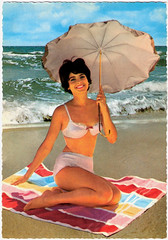 The Umbrellas of Cherbourg (Truus, Bob & Jan too!) Tags: sexy beach girl beauty vintage sweet postcard babe retro bikini bathing pinup sixties postale cartolina carte postkarte ansichtskarte ansichtkaart postkaart briefkaart briefkarte