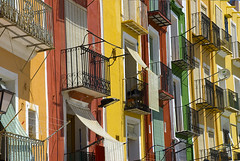 Casas de Villajoyosa (Eve Livesey) Tags: pink houses red summer hot green valencia sunshine yellow spain colorful balcony alicante heat balconies blinds colourful ochre satellitedishes villajoyosa 34c