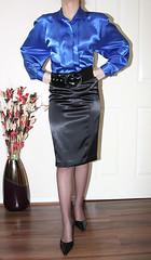 vintage blue satin blouse (sheerglamour) Tags: fetish blouse plastic heels satin mistress nylon pvc pu governess