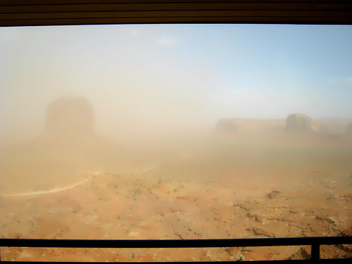 Dust storm in Monument Valley.