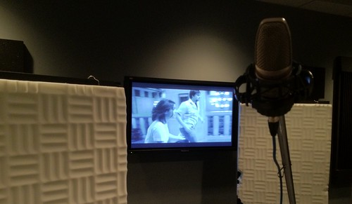 My view in the ADR studio.  The male actor onscreen plays my character.