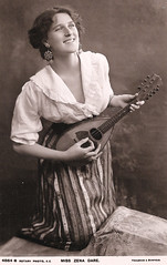 Miss Zena Dare With a Lute. And Some Facts About Her. (pepandtim) Tags: postcard old early nostalgic nostalgia zena dare rotary photographic series foulsham banfield 22zed98 belle epoque lute