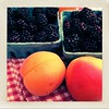 Retro Fresh Summer Fruit (Ari Lynn Day) Tags: blue red stilllife apple colors beautiful juicy berry berries blackberry delicious gingham apricot hybrid boysenberry app ripe iphone farmstand cartom lomob oallieberry oallieberries 4abasket