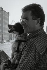 Gazing (RefuseAll) Tags: venice portrait blackandwhite bw dog white black cane photography nikon picture bn fotografia dslr steamer venezia bianco ritratto nero biancoenero vaporetto d90