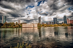 Austin Skyline on Lady Bird Lake (Apogee Photography) Tags: water skyline clouds austin texas places townlake hdr 9xp hdrextremes ladybirdlake hdraddicted flickrunitedaward