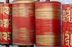 Spinning (Sophie et Fred) Tags: china red wheel moulin prayer monastery monastere shigatse priere tashilhumpo