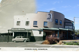 Edinboro House, High Street, Denmark, 1940s.  Postcard published by C A Pitt Ltd, Payneham, SA.  2012 photo by Tony Blackett.