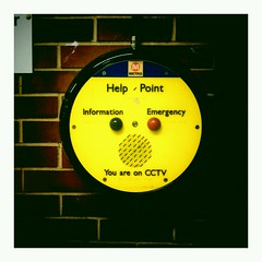 Smile your on Candid Camera. (Colour Blind Bob) Tags: bus face station sign point photography call photographer metro leeds cctv help smiley android vignetteapp colourblindbob flickrandroidapp:filter=none