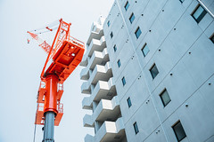 (sunnywinds*) Tags: leica red sky building architecture kyoto crane  build  11667 summiluxm11435mmasph
