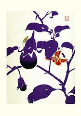Eggplant (Japanese Flower and Bird Art) Tags: flower art japan japanese book eggplant picture woodblock kyobashi solanum solanaceae rinpa melongena masuichi readercollection