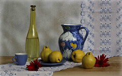 Quince - Golden Fruit (Esther Spektor - Thanks for 11+ millions views..) Tags: blue red stilllife white flower art texture cup water glass yellow fruit composition canon bottle ceramics pattern embroidery availablelight plate stilleben runner pitcher arrangement tabletop quince bodegon naturemorte naturamorta naturezamorta creativephotography artisticphoto estherspektor