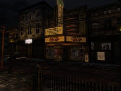 The Cinema - Reminding fish-people of simpler times (Hunter_Kingsbury) Tags: cinema secondlife horror movietheatre zombies hplovecraft dilapidated movietheater belalugosi whitezombie nightofthelivingdead arkham georgearomero innsmouth hunterkingsbury arikmetzger