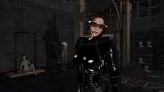 The Alex Factory (alexandriabrangwin) Tags: world black abandoned night computer dark 3d construction graphics shiny parts empty gear rubber adventure warehouse creation secondlife virtual rig frame latex corset guns harness pistols ops catsuit holster cgi wasteland maglite adventurer oakleys adventuring alexandriabrangwin