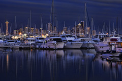 Bay Vibrations (TIA International Photography) Tags: seattle urban reflection water skyline sailboat port marina landscape evening bay harbor boat spring dock downtown mood sailing cityscape harbour yacht cove tranquility atmosphere vessel smith calm transportation serenity pacificnorthwest spaceneedle pugetsound serene mast elliottbay tranquil buoy springtime vibration dockyard ambiance