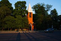 Church tower (figishe2) Tags: road trees sunset orange tower church lines car contrast 35mm triangle shadows cross bright asphalt