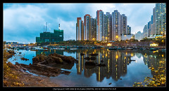 P5020119-HDR-Pano (YKevin1979) Tags: longexposure panorama reflection hongkong dusk olympus coastline    hdr omd 918  tseungkwano   f456    micro43 microfourthird 918mm lehdr mzuiko triggertrap olympus918mmf4056 em5ii em5m2