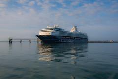 Still morning...... (Dafydd Penguin) Tags: morning cruise light wales sunrise 35mm pier nikon ship britain vessel clam german f2 af nikkor anglesey holyhead d600