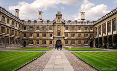 University courtyard (dgoomany) Tags: england cambridge university universityofcambridge education higheducation smart intelligent colleges rivalry courtyard grass architecture old oldbuildings classical gothic stone stonework sculptures