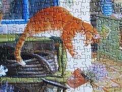 Garden Visitors (Bernard Willington) (Leonisha) Tags: cat chat puzzle katze jigsawpuzzle orangekitten