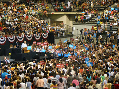 Obama! (James B Currie) Tags: people usa election president politics rally crowd richmond vcu democratic forward 2012 barackobama firedup readytogo wevegotyourback notback obamarallyvcu