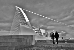 Into the Future (Ber123) Tags: street city bridge ireland urban blackandwhite bw dublin art nikon couple candid future beckett nikond60 intothefuture beckettbridge