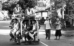 Going to the Finals (Nukie13) Tags: road street people blackandwhite bw monochrome basketball canon team tricycle visayas 5d2