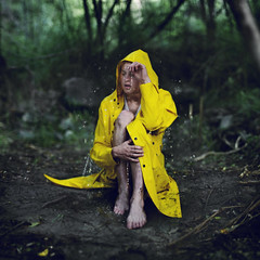 The destination of distant downpours. (David Talley) Tags: water rain yellow forest coat conceptual raincoat downpour rainjacket 365project davidtalley