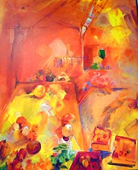 Explore! Day's End (ArtsySF©Marjie) Tags: red orange abstract art yellow painting table florence colorful artist market days end schwarta