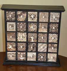 Pyrographed 25 drawer chest (no.2) (Tricia Newell) Tags: pyrography chestofdrawers woodburning sepia woodenbox woodendrawers decorate