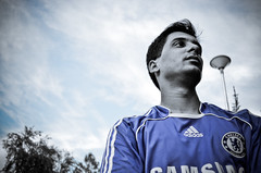 Portrait of a friend (Mustafa Hashmi) Tags: pakistan portrait sky colour portraits football nikon chelsea soccer selective islamabad addidas selectivecolor d5100