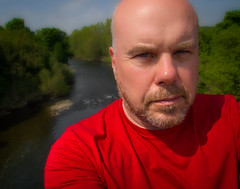 Above the River Wear. (CWhatPhotos) Tags: pictures county camera blue trees red man male field shirt digital pen portraits self river that lens beard t four photography goatee photo foto dof durham with image artistic photos bald picture taken tshirt olympus images wear have fotos penn kit emotional olympuspen which zuiko depth contain baldy thirds redtshirt pl1 esystem 1442mm epl1 mzuiko cwhatphotos elp1