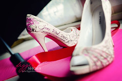 "Cara P | Personalized Pink Victorian Wedding Shoes (Figgie (a.k.a. ""The Girl With the Shoes"")) Tags: pink ontario art daisies bride artwork shoes highheels unique painted commercial gerbera footwear handpainted unusual bridal 2012 ingersoll elmhurstinn carap figgiephotography figgieshoes"