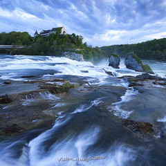 Rhine Falls - Europes largest Waterfall (Garry - www.visionandimagination.com) Tags: water square landscape waterfall europe schaffhausen sig rhine rhein railwaybridge rheinfall rhinefalls neuhausenamrheinfall schlosslaufen laufencastle