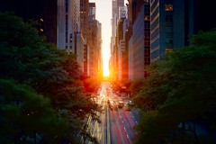 Manhattanhenge on May 31, 2012 (mudpig) Tags: road nyc newyorkcity longexposure sunset sunlight ny newyork reflection tree skyline geotagged nikon glow cityscape traffic manhattan bankofamerica gothamist lighttrails rays eastside f28 hdr manhattanhenge 42ndstreet traffictrails tudorcity mudpig stevekelley d3s 1424mm manhattenhenge stevenkelley