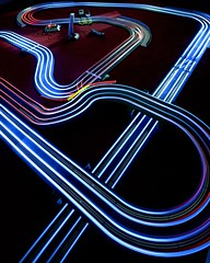 Night Racing (Flxzr) Tags: lights trails racing lighttrails scalextric slotcars longexposurescalextric