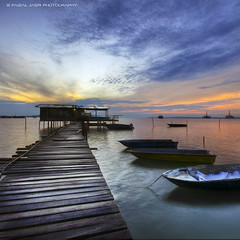 Perkampungan Tanjung Langsat, Pasir Gudang (Faizal Jasri) Tags: travel blue blur port sunrise square boat fisherman nikon singapore jetty south tripod sigma wideangle format polarizer johor faizal fancier pasirgudang jasri