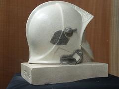 casque f1. b (ggrailhe) Tags: sculpture art helmet carving hommage casco sculptor casque oeuvredart graille tailledirecte geraldgrailhe pierreestaillades casquedepompiers helmetfirefighter