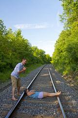 Boxcar Nate (Matt Champlin) Tags: railroad friends woman man canon trapped funny lol humor tracks molly nate deviant 2012 villian