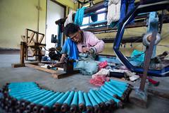 All The Live Long Day (www.WeAreHum.org) Tags: wood school nepal feet for women mechanical arts textile gandhi kathmandu winds weaving loom ashram tulsi threads shuttles bobbins sowing