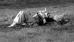 Yoga Dawg (DobingDesign) Tags: sanfrancisco california park shadow blackandwhite usa dog man love yoga beard relax paw couple exercise outdoor relaxing bulldog human together doggy resting panting highlight panhandle lyingdown dogleg lookingatthesky lyingflatonback