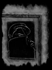 Negative on the Masked Man (Steve Taylor (Photography)) Tags: city newzealand christchurch blackandwhite streetart man eye art texture monochrome hat digital graffiti scary sticker mask cabinet box monotone canterbury spooky negative cap nz eyebrow southisland cbd lowkey vignette frightening whowasthatmaskedman