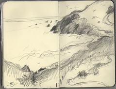 Marin Headlands Rodeo Beach (Marcia Milner-Brage) Tags: california seascape sketch marinheadlands pacificcoast 5bpencil pocketsizemoleskine marciamilnerbrage