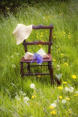 Mid May Outdoor Still Life (vesna1962) Tags: stilllife nature grass hat bluebells vintage book spring bottle chair outdoor may wildflowers dandelions buttercups blowballs