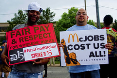 Fight for 15 Rally at McDonalds HQ Oak Brook Illinois 5-25-16 0014 (www.cemillerphotography.com) Tags: poverty restaurant illinois workers labor union rally fastfood rich poor protest demonstration exploitation strike wealthy income ripoff organize inequality shareholders walkout wages minimumwage compensation oakbrook stockholders livingwage mcjobs parttimejobs corporateprofit 15anhour surpluslabor 725anhour ceosalary