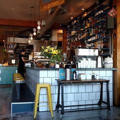 #Swedish #breakfast #brunch #Portland #restaurant: #selfserve #coffee #rustic #industrial #bar #tile #espresso (Heath & the B.L.T. boys) Tags: coffee yellow bar oregon tile portland table restaurant tray condiments stool shelves crock casters instagram